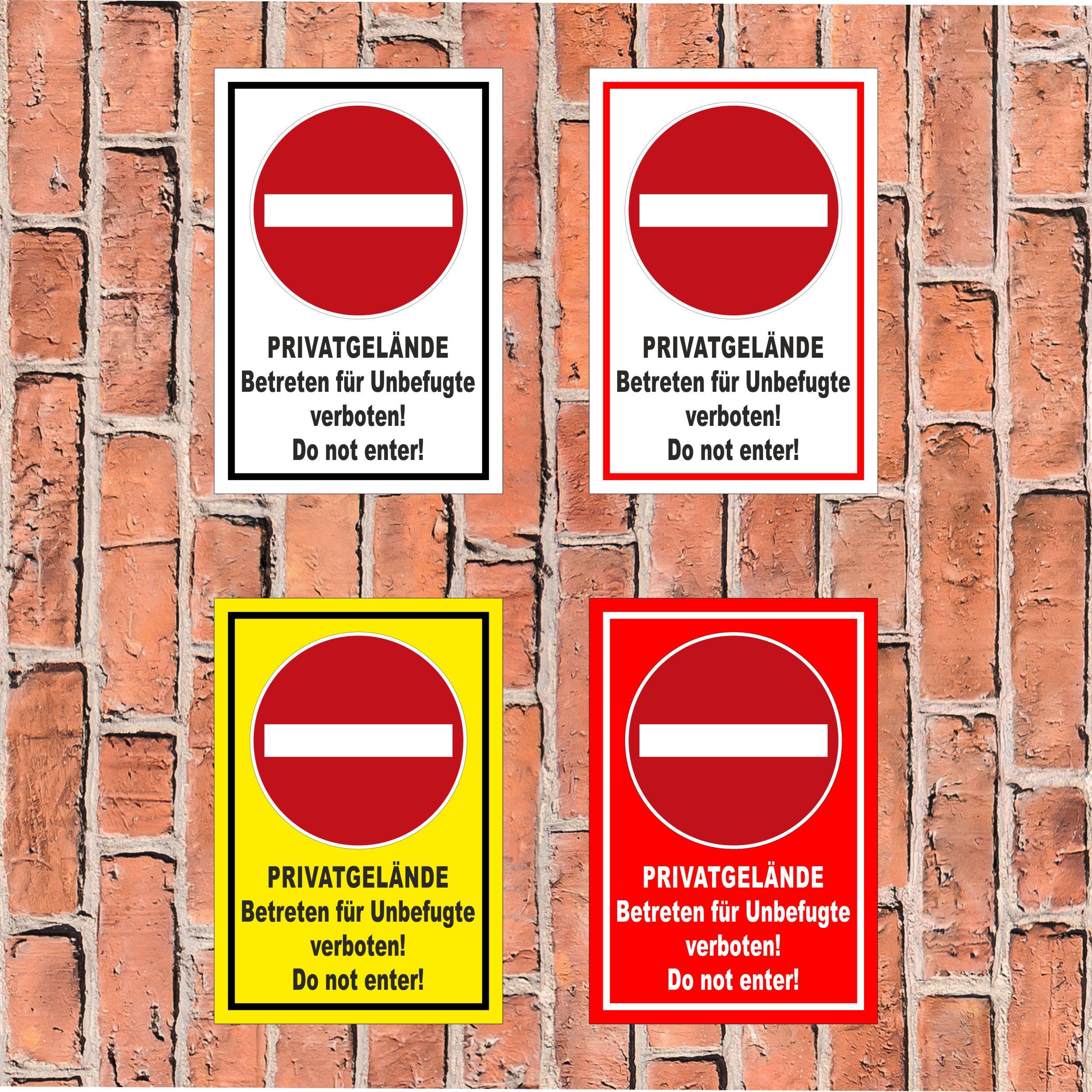 Privat Betreten verboten Schild Grundstück Unbefugte Zutritt Hartschaumplatte